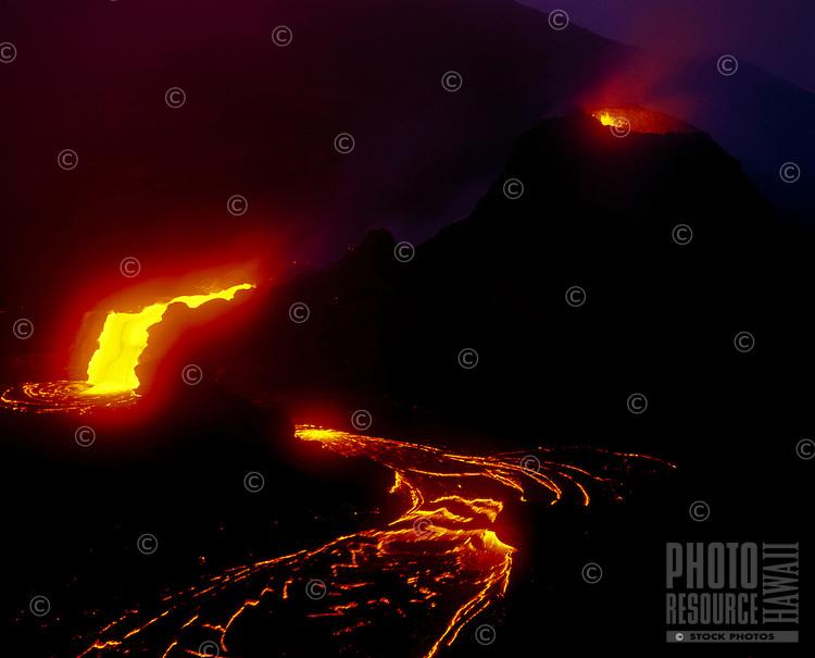 Splatter cone and lava flow at Puu Oo Vent, Kilauea Volcano, Big Island