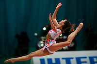 "Almudena Cid of Spain split leaps at 2008 World Cup Kiev, ""Deriugina Cup"" in Kiev, Ukraine on March 23, 2008."
