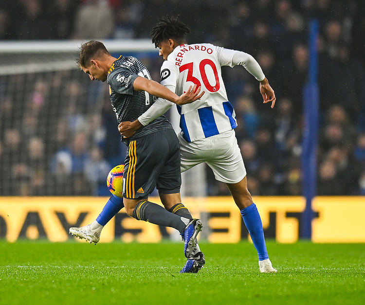 Brighton & Hove Albion's Bernardo (right) battles with Leicester City's Marc Albrighton (left) <br /> <br /> Photographer David Horton/CameraSport<br /> <br /> The Premier League - Brighton and Hove Albion v Leicester City - Saturday 24th November 2018 - The Amex Stadium - Brighton<br /> <br /> World Copyright © 2018 CameraSport. All rights reserved. 43 Linden Ave. Countesthorpe. Leicester. England. LE8 5PG - Tel: +44 (0) 116 277 4147 - admin@camerasport.com - www.camerasport.com