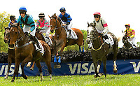 A group of jockey's fight for position after a jump during the Queen's Cup Steeplechase in Mineral Springs, NC.