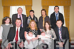 Double Christening: First cousins Shauna Horgan & Aisling Denihan who were christened in Corpus Christie Church, Knockanure on Sunday last by Fr. Tom McMahon and afterwards at the Listowel Arms Hotel. Front : Rachael, John & Marguerite Horgan with Shauna & Noreen with Aisling & Steve Denihan. Back : Tim Horgan, Betty Greaney, Catherine Glancy & Kieran Denihan.