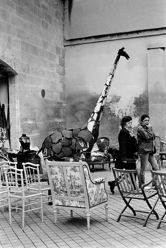 France. Gironde department. Bordeaux. Two women in an antique shop. A giraffe made by an artist with recycled metal parts, a woman torso and various chairs for sale. An antique shop (or antiques shop) is a retail store specializing in the selling of antiques. The quality of these items may vary from very low to extremely high and expensive, depending on the nature and location of the shop. The shop has a wide variety of inventory. The giraffe is an African even-toed ungulate mammal, the tallest living terrestrial animal and the largest ruminant. 23.03.2015 © 2015 Didier Ruef