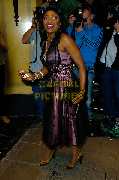 PATTIE BOUDAYE.At the London Black Leaders' Dinner at The Dorchester hotel, London, England, August 28th 2007..full length  pink purple dress black lace sheer layered.CAP/CAN.©Can Nguyen/Capital Pictures