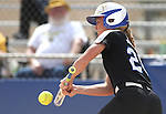 Western Nevada's Makaylee Jaussi bunts against the College of Southern Idaho at the Edmonds Sports Complex in Carson City, Nev., on Friday, April 8, 2016. <br />