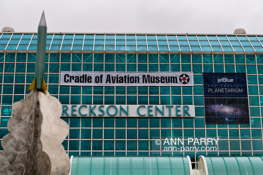 Oct 4, 2012 - GARDEN CITY, NEW YORK U.S. - Over the Cradle of Aviation Museum entrance is a sign for its new JetBlue Sky Theater Planetarium. The planetarium, a state-of-the-art digital projection system, officially opens this weekend.