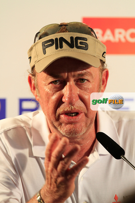 Miguel Angel Jimenez (ESP) during an Interview after the Pro-Am of the Open de Espana  in Club de Golf el Prat, Barcelona on Wednesday 13th May 2015.<br /> Picture:  Thos Caffrey / www.golffile.ie