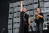 DISTURBED - David Draiman and Dana Donegan - performing live on Day Three on the Lemmy Stage at Download Festival at Donington Park UK - 12 Jun 2016.  Photo credit: Zaine Lewis/IconicPix