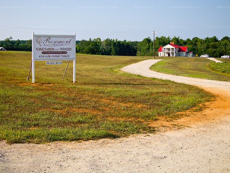 Rosemont Vineyard and Winery sits down a gravel driveway, helpfully marked by the winery's sign at the main road.