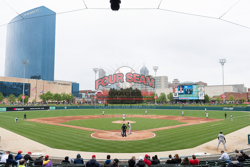 The Indianapolis Indians play host to the Columbus Clippers during an Eastern League game on April 30, 2019 at Victory Field in Indianapolis, Indiana. Columbus defeated Indianapolis 7-6. (Zachary Lucy/Four Seam Images)