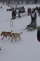 Katrina DeLoach  leaves the start line of the 2006 Jr. Iditarod race from Willow Lake, Alaska   ..Photo by Ben Schultz