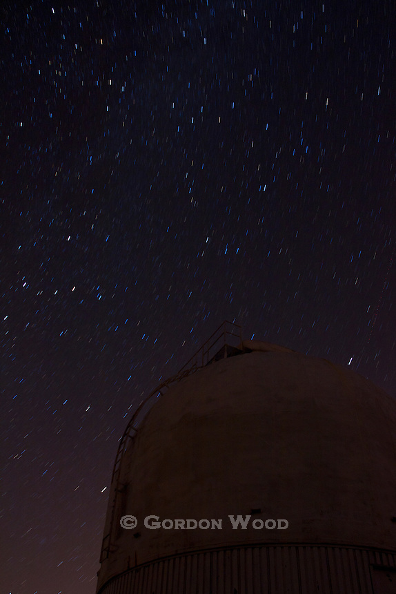 Observatory Dome with Star Trails and Milky Way Overhead