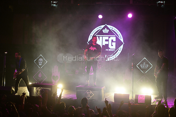 FORT LAUDERDALE FL - OCTOBER 14: Ian Grushka, Jordan Pundik, Cyrus Bolooki and Chad Gilbert of New Found Glory perform at Revolution on October 14, 2015 in Fort Lauderdale, Florida. Credit: mpi04/MediaPunch