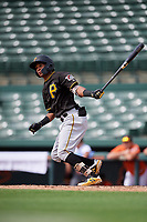 Pittsburgh Pirates center fielder Lolo Sanchez (14) follows through on a swing during a Florida Instructional League game against the Baltimore Orioles on September 22, 2018 at Ed Smith Stadium in Sarasota, Florida.  (Mike Janes/Four Seam Images)