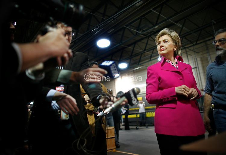 U.S. Presidential hopeful Hillary Clinton (D-NY) looks over to and chats with the media while she tours the Wm. J. Donovan Company for sheet metal in Philadelphia, Pennsylvania, on Tuesday, April 01, 2008. The Senator is hoping to woo crucial to her votes in the state before its primary on April 22, 2008. (Photograph by Yana Paskova for Newsweek)