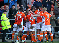 Blackpool's Armand Gnanduillet celebrates scoring his sides second goal  with his team mates<br /> <br /> Photographer Mick Walker/CameraSport<br /> <br /> The EFL Sky Bet League One - Blackpool v Fleetwood Town - Saturday 14th April 2018 - Bloomfield Road - Blackpool<br /> <br /> World Copyright &copy; 2018 CameraSport. All rights reserved. 43 Linden Ave. Countesthorpe. Leicester. England. LE8 5PG - Tel: +44 (0) 116 277 4147 - admin@camerasport.com - www.camerasport.com