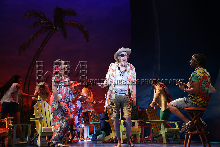 Rema webb, Don Sparks and Andre Ward with cast during the Press Sneak Peak for the Jimmy Buffett  Broadway Musical 'Escape to Margaritaville' on February 15, 2018 at the Marquis Theatre in New York City.