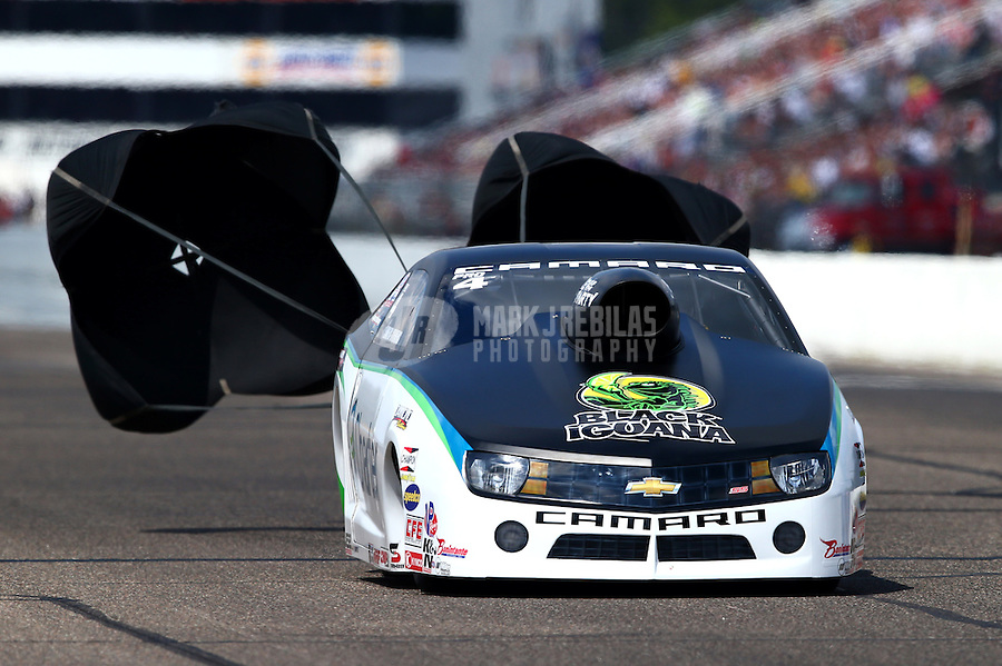 Aug. 17, 2013; Brainerd, MN, USA: NHRA pro stock driver Erica Enders-Stevens during qualifying for the Lucas Oil Nationals at Brainerd International Raceway. Mandatory Credit: Mark J. Rebilas-