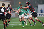Rabo Direct Pro 12.Henry Fa'afili hands off Luke Charteris.Newport Gwent Dragons v Connacht.30.03.12.©Steve Pope