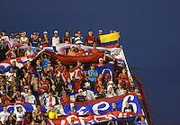 ENVIGADO - COLOMBIA -14 -02-2016: Hinchas de Deportivo Independiente Medellin, animan a su equipo durante partido entre Envigado FC y Deportivo Independiente Medellin, partido por la fecha 3 de la Liga Aguila I 2016, jugado en el estadio Polideportivo Sur de la ciudad de Envigado.  / Fans of Deportivo Independiente Medellin, cheer for their team during a match between Envigado FC and Deportivo Independiente Medellin, for the date 3 between for the Liga Aguila I 2016 at the Polideportivo Sur stadium in Envigado city. Photo: VizzorImage. / Leon Monsalve / Str.