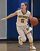 Shea Cronin #5 of Northport dribbles downcourt during a Suffolk County League II girls basketball game against Riverhead at Northport High School on Friday, Dec. 14, 2018. She recorded eight points and three steals in Northport's 48-21 win.