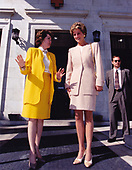 Elizabeth Dole, President of the American Red Cross, left, shares a thought with Princess Diana, right, following the Princess' visit to the American Red Cross Headquarters in Washington, DC on October 21, 1994.<br /> Mandatory Credit: Mark Wilson / American Red Cross via CNP
