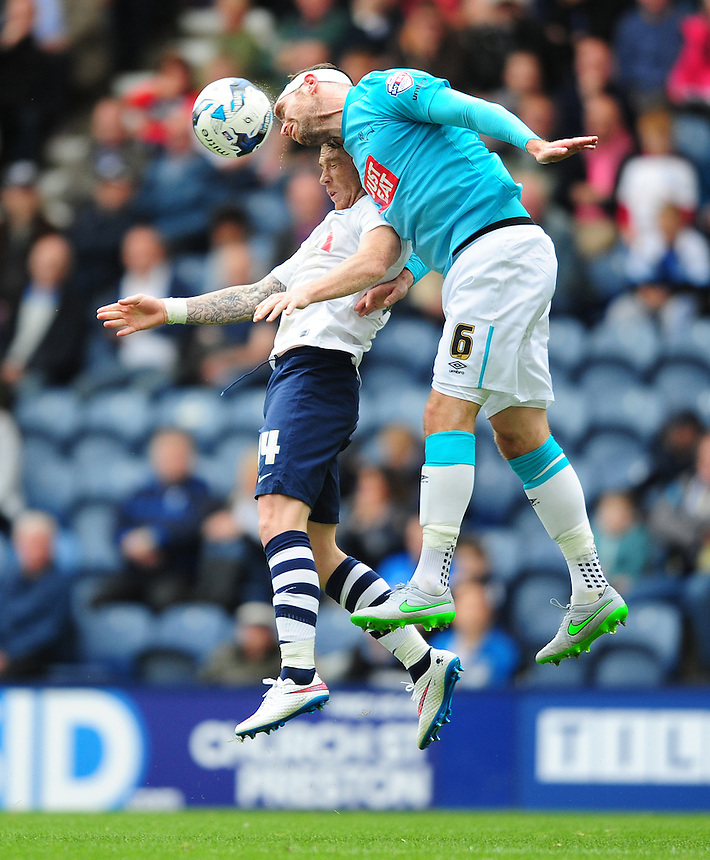 Preston North End's Joe Garner vies for possession with Derby County's Richard Keogh<br /> <br /> Photographer Chris Vaughan/CameraSport<br /> <br /> Football - The Football League Sky Bet Championship - Preston North End v Derby County - Saturday 12th September 2015 -  Deepdale - Preston<br /> <br /> &copy; CameraSport - 43 Linden Ave. Countesthorpe. Leicester. England. LE8 5PG - Tel: +44 (0) 116 277 4147 - admin@camerasport.com - www.camerasport.com
