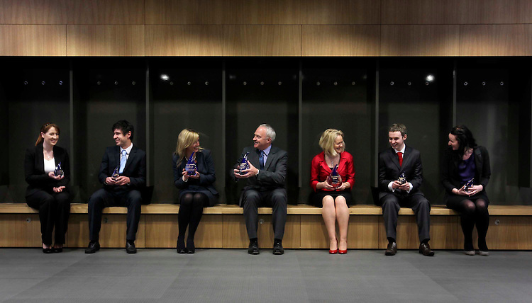 .PwC Score 3 in a row.Pictured in the changing rooms at the Aviva Stadium following the announcement of their gradireland Most Popular Graduate Recruiter Award for three years running are (Left to right ) PwC Graduates Ruth O'Donoghue and Scott Weir; Lorraine Toole, PwC HR Manager; Ronan Murphy, PwC Senior Partner; Carmel O'Connor, PwC HR Partner; and PwC Graduates Keith Noonan and Sarah-Jane Phelan . Pic Robbie REynolds CPR.