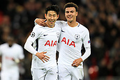 6th December 2017, Wembley Stadium, London England; UEFA Champions League football, Tottenham Hotspur versus Apoel Nicosia; Son Heung-Min of Tottenham Hotspur celebrates with Dele Alli after he scores making it 2-0