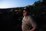 Minuteman volunteer Clint Stamps watches for illegal migrants near Campo, CA on Wednesday, April 12, 2006.<br />