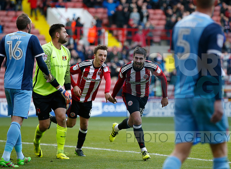 Kieron Freeman of Sheffield Utd celebrates his goal with Stefan Scougall of Sheffield Utd during the Emirates FA Cup Round One match at Bramall Lane Stadium, Sheffield. Picture date: November 6th, 2016. Pic Simon Bellis/Sportimage