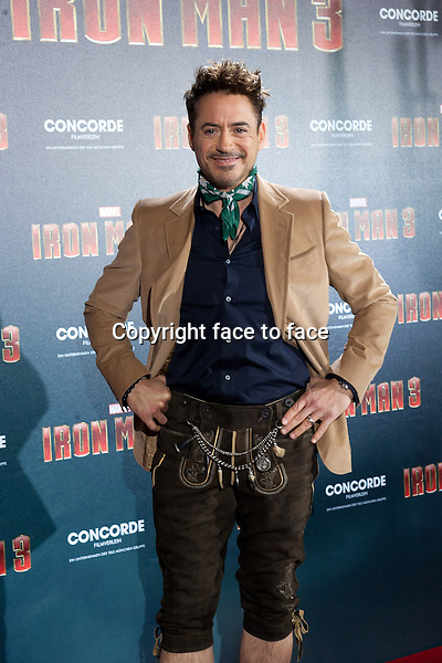 "He can even pull off Lederhosen! Robert Downey Jr. looked great in the traditional Bavarian costume while promoting with co-star Gwyneth_Paltrow his new movie ""Iron Man 3"" at Hotel Bayerischer Hof in Munich, Germany on April 4, 2013. Mr Downey Jr did the Schuhplattler dance and pulled at Gwyneth's_dress! credit: Nickels/face to face"