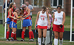 Team mates # 19 Brianna Roskey  and # 6 Allison Stuppi  of Ocean Township High School  celebrate the game winning overtime goal as Ocean Township High School takes on Wall Township High School in a girls varsity field hockey game held in Wall Township on Wednesday October 11, 2017.<br /> <br /> <br /> (Mark R. Sullivan | For NJ Advance Media)