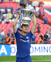 Chelsea's Cesar Azpilicueta with the trophy<br /> <br /> Photographer Rob Newell/CameraSport<br /> <br /> Emirates FA Cup Final - Chelsea v Manchester United - Saturday 19th May 2018 - Wembley Stadium - London<br />  <br /> World Copyright &copy; 2018 CameraSport. All rights reserved. 43 Linden Ave. Countesthorpe. Leicester. England. LE8 5PG - Tel: +44 (0) 116 277 4147 - admin@camerasport.com - www.camerasport.com