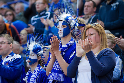 03.05.2014.  Leicester, England. Leicester City fans in fancy dress during the FA Championship match between Leicester City and Doncaster Rovers at The King Power Stadium.