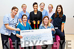 The presentation of a cheque for &euro;2,404.27 donated from the Tony O&rsquo;Donoghue Memorial Walk last Saturday to the Palititive Care unit in University Hospital Kerry on Thursday.<br /> Seated l to r: Mari O&rsquo;Connell and Andrea O&rsquo;Donoghue.<br /> Back l-r, Linda O'Connor, Bernie Flahive,  Dame Kelly Holmes, Maura Casey, Karen Ahern and Jacinta O&rsquo;Connor.