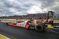 May 20, 2016; Topeka, KS, USA; NHRA top fuel driver Shawn Langdon during qualifying for the Kansas Nationals at Heartland Park Topeka. Mandatory Credit: Mark J. Rebilas-USA TODAY Sports