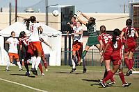 SAN ANTONIO, TX - NOVEMBER 7, 2010: The Oklahoma State University Cowgirls vs. the University of Oklahoma Sooners in the Big 12 Women's Soccer Championship at the Blossom Soccer Stadium. (Photo by Jeff Huehn)