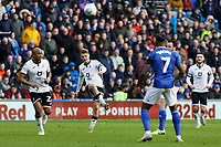 George Byers of Swansea City (2nd L) srosses the ball during the Sky Bet Championship match between Cardiff City and Swansea City at the Cardiff City Stadium, Cardiff, Wales, UK. Sunday 12 January 2020