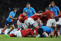 Sébastien Tillous-Borde of France passes during Match 5 of the Rugby World Cup 2015 between France and Italy - 19/09/2015 - Twickenham Stadium, London <br /> Mandatory Credit: Rob Munro/Stewart Communications