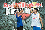Lu Yu Hui and Ku pose for a portrait ahead the Red Bull King of the Rock Taiwan National Finals on July 18, 2015 at the Kaohsiung University basketball court in Kaohsiung, south Taiwan. Photo by Victor Fraile / Power Sport Images