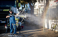 mechanics at work at the Mitchelton-Scott team hotel after the stage<br /> <br /> Stage 6: Cassino to San Giovanni Rotondo (233km)<br /> 102nd Giro d'Italia 2019<br /> <br /> ©kramon