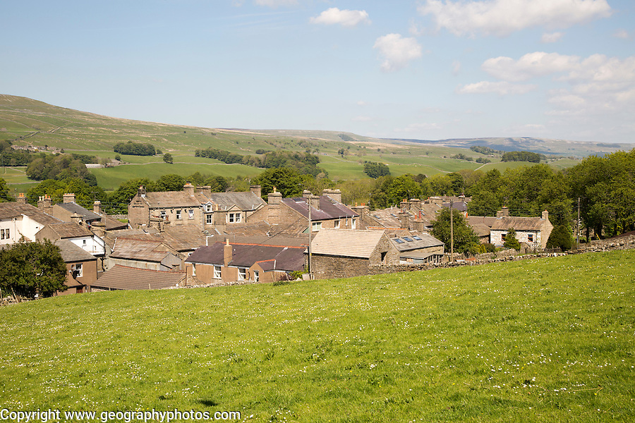 Rooftops of houses in village of Hawes,  Yorkshire Dales national park, England, UK