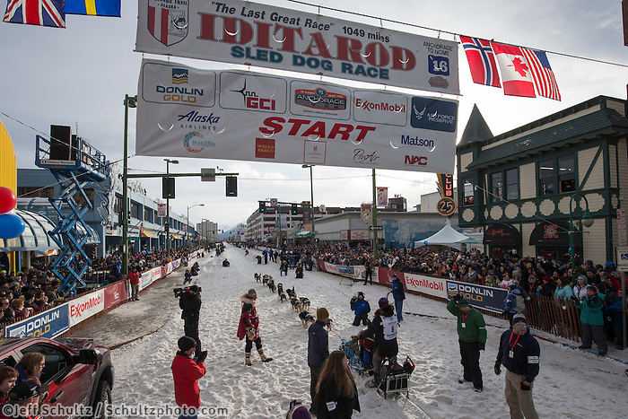 Ketil Reitan leaves the start line during the Ceremonial Start of the 2016 Iditarod in Anchorage, Alaska.  March 05, 2016