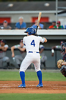 Jose Marquez (4) of the Burlington Royals at bat against the Danville Braves at Burlington Athletic Stadium on August 12, 2017 in Burlington, North Carolina.  The Braves defeated the Royals 5-3.  (Brian Westerholt/Four Seam Images)