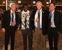 Michael Tetteh with Sounders staff at the 2011 MLS Superdraft, in Baltimore, Maryland on January 13, 2010.