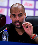 SHENZHEN - JULY 28: Manchester City FC's coach Pep Guardiola attends a press conference after the Borussia Dortmund and Manchester City FC match as part of 2016 International Champions Cup China match at the Shenzhen Stadium on 28 July 2016 in Shenzhen, China. (Photo by Power Sport Images/Getty Images)