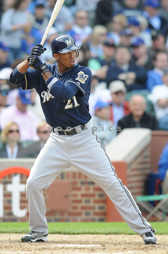 ALCIDES ESCOBAR, of the Milwaukee Brewers , in action during the  Brewers game against the Chicago Cubs at Wrigley Field in Chicago, Illinois  on April 12, 2010...The Cubs win 9-5