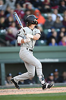 Second baseman LT Tolbert (11) of the South Carolina Gamecocks bats in the Reedy River Rivalry game against the Clemson Tigers on Saturday, March 3, 2018, at Fluor Field at the West End in Greenville, South Carolina. Clemson won, 5-1. (Tom Priddy/Four Seam Images)