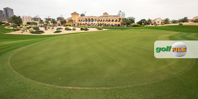 18th green at The Els Club , Dubai, United Arab Emirates.  28/01/2016. Picture: Golffile | David Lloyd<br /> <br /> All photos usage must carry mandatory copyright credit (&copy; Golffile | David Lloyd)