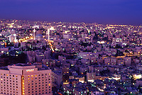 Amman at night, showing the King Abdullah Mosque.  Jordan. The Middle East
